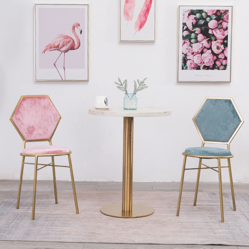 Nordic Pink Golden Chair Restaurant Lounge Dressing Chair For Nail Shop  Livingroom Chairs Salon Furniture