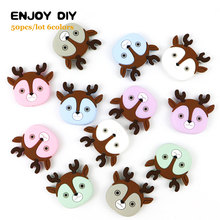 50Pcs Deer Baby Rodents Silicone Teether Beads DIY Animal Baby