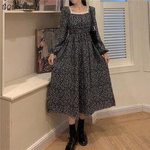 Robe en dentelle Vintage pour femmes, col carré, Patchwork, manches bouffantes, loisirs, Style princesse