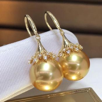 Fine Jewelry Pure 18 K Rose Gold Natural Philippine Origin 11-12 Ocean Golden Round Pearl Earrings for Women Fine Pearl Earrings 3