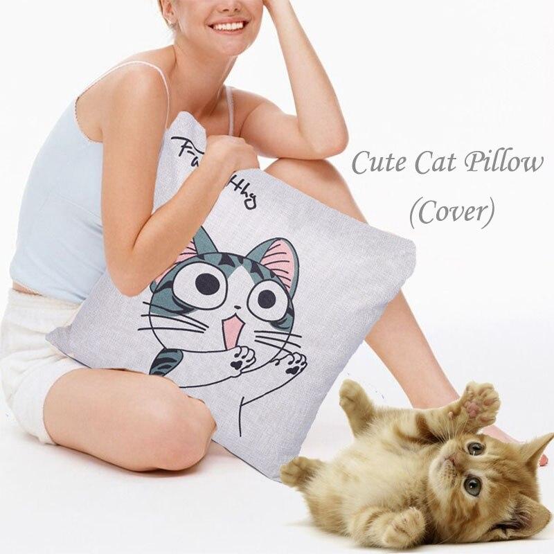 9pcs/set cute Kitten linen pillowcase cushion office waist cushion christmas decoration wedding decoration for home accessories Cushion     - title=