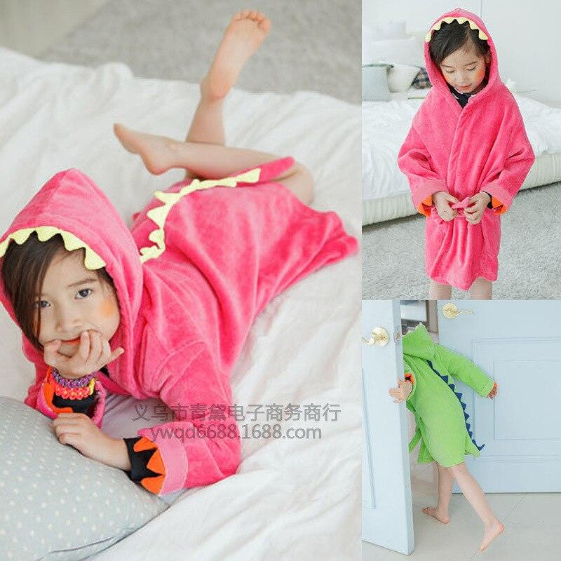 Export Children Dinosaur Lace-up Bathrobe Hooded Pajamas Children Sleepwear Bath Towel