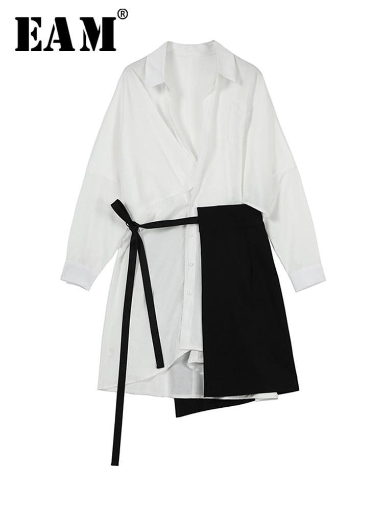 Two-Piece Shirt Dress Bandage Split-Joint Spring Long-Sleeve White Autumn Women Fashion