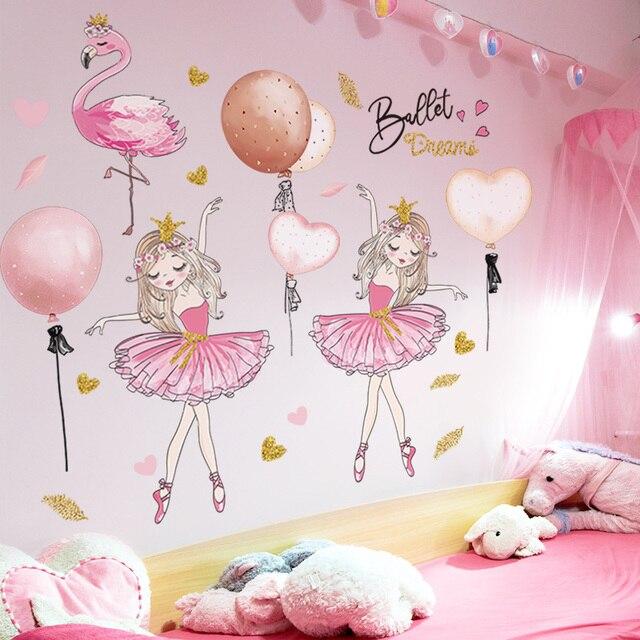 [shijuekongjian] Ballet Girl Dancer Wall Stickers DIY Cartoon Balloons Wall Decals for Kids Rooms Baby Bedroom House Decoration
