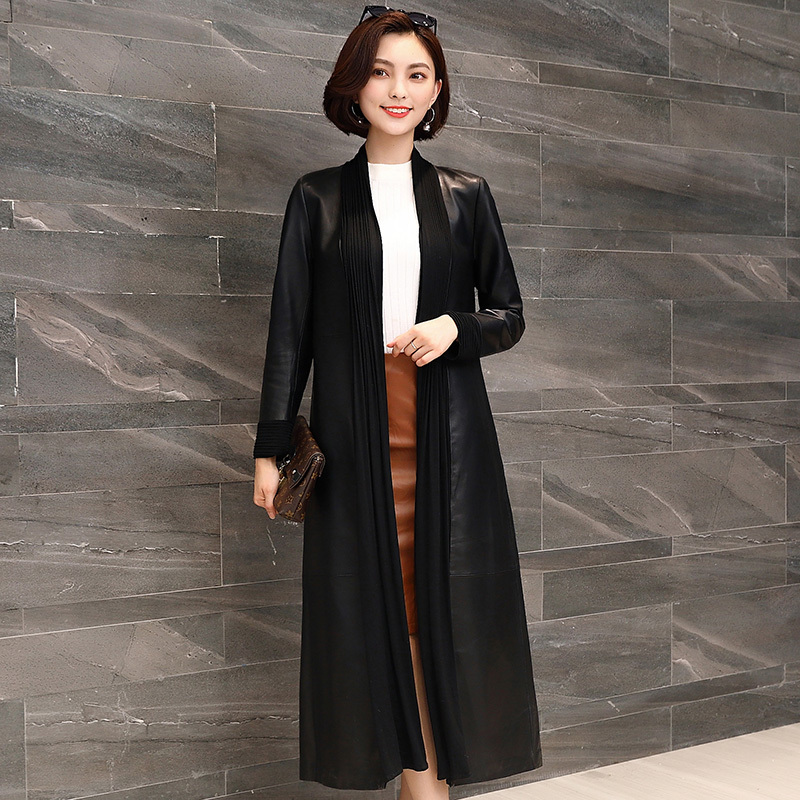 Real Genuine Leather Jacket Women Clothes 2020 Spring Autumn Sheepskin Coat Korean Vintage Long Trench Coat Women Tops ZT2321