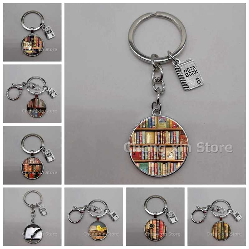 New Retro Books Photo Keychain Book Couple Keychain Jewelry Librarian Gift Writer Student Teacher Nerd Gift