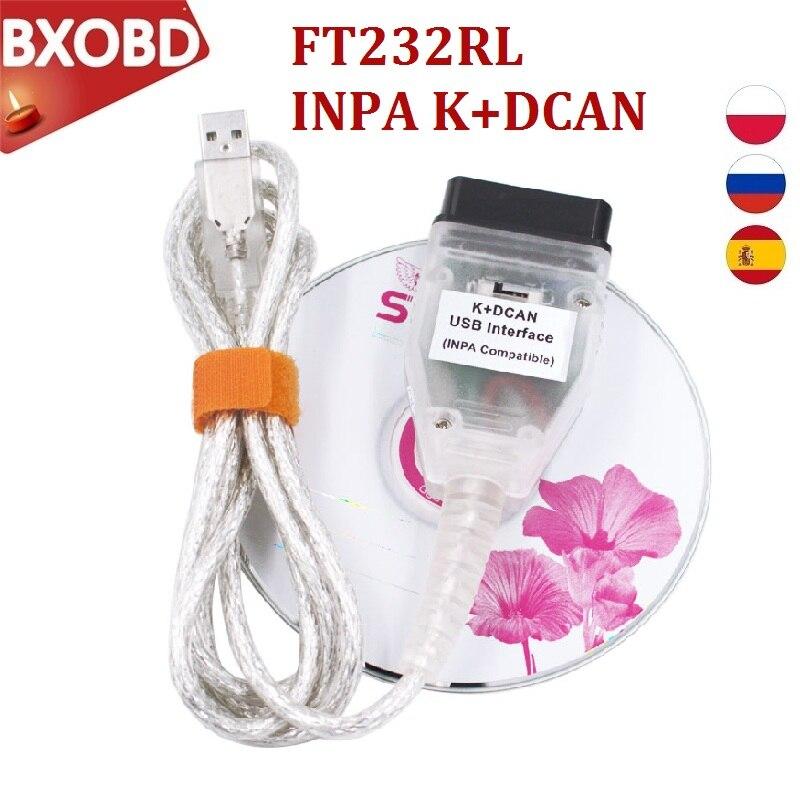 Pour BMW INPA K DCAN FT232RL Interface K peut INPA avec commutateur pour BMW INPA K + peut USB câble de Diagnostic INPA DIS SSS NCS codage