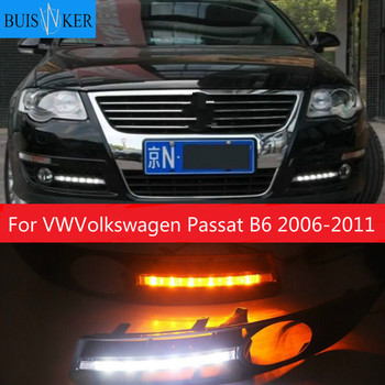 For VWVolkswagen Passat B6 2007 2008-2011 Super bright Waterproof car light DRL LED Daytime Running Lights with fog lamp hole