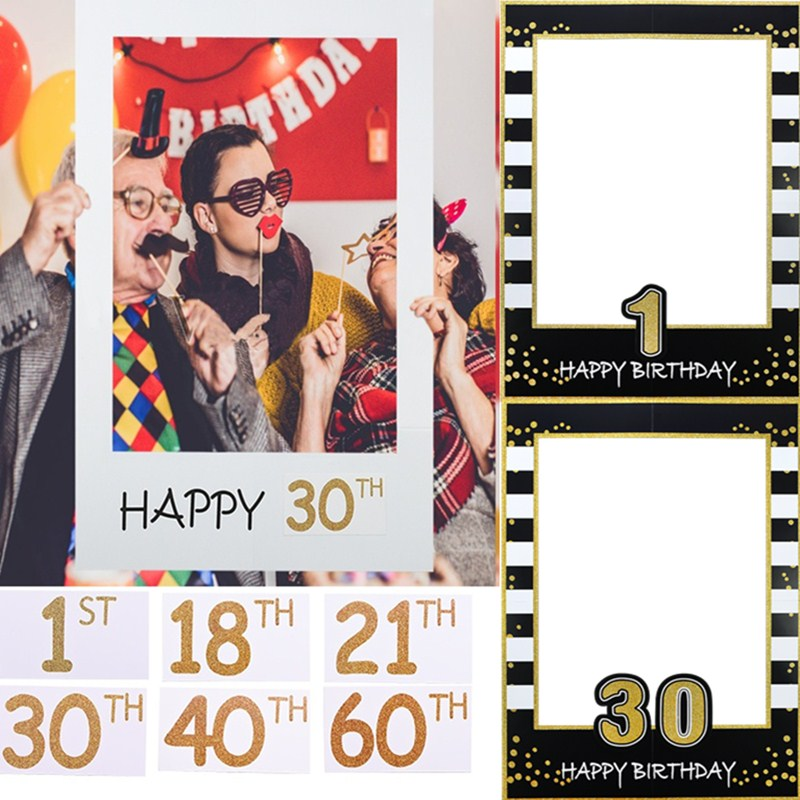 1 Piece 48*68cm 1st 21th 30th 40th <font><b>60th</b></font> Paperboard Photo Booth Frame Kids Adults <font><b>Birthday</b></font> Photo Prop Wedding Party <font><b>Decoration</b></font> image
