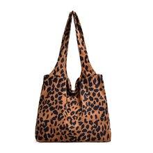 Вельветовая леопардовая холщовая большая сумка женская модная