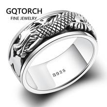 Настоящее чистое 925 пробы Серебряное кольцо с драконом для мужчин вращающееся кольцо с передачей удачи в винтажном стиле панк ретро Anel Masculino Aneis