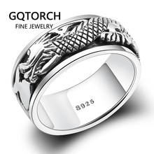 Real Pure 925 Sterling Silver Dragon Rings For Men Rotatable Transfer Luck Vintage Punk Retro Style Anel Masculino Aneis