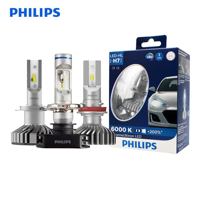 Philips <font><b>LED</b></font> H4 H7 H8 <font><b>H11</b></font> H16 9005 9006 X-treme Ultinon <font><b>LED</b></font> Car <font><b>Headlight</b></font> Fog Lamps 6000K Cool White +200% Brighter <font><b>Bulbs</b></font>, Pair image