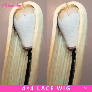 Brazilian Lace Wig 4*4 Straight Lace Closure Wig Human Hair Wigs 613 Blonde Wig Pre-plucked with Baby Hair Jazz Star Non-Remy(China)