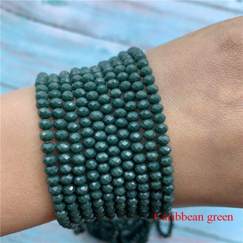 40 цветов 1 нить 2X3 мм/3X4 мм/4X6 мм хрустальные бусины rondelle хрустальные бусины стеклянные бусины для самостоятельного изготовления ювелирных изделий - Цвет: Caribbean Green