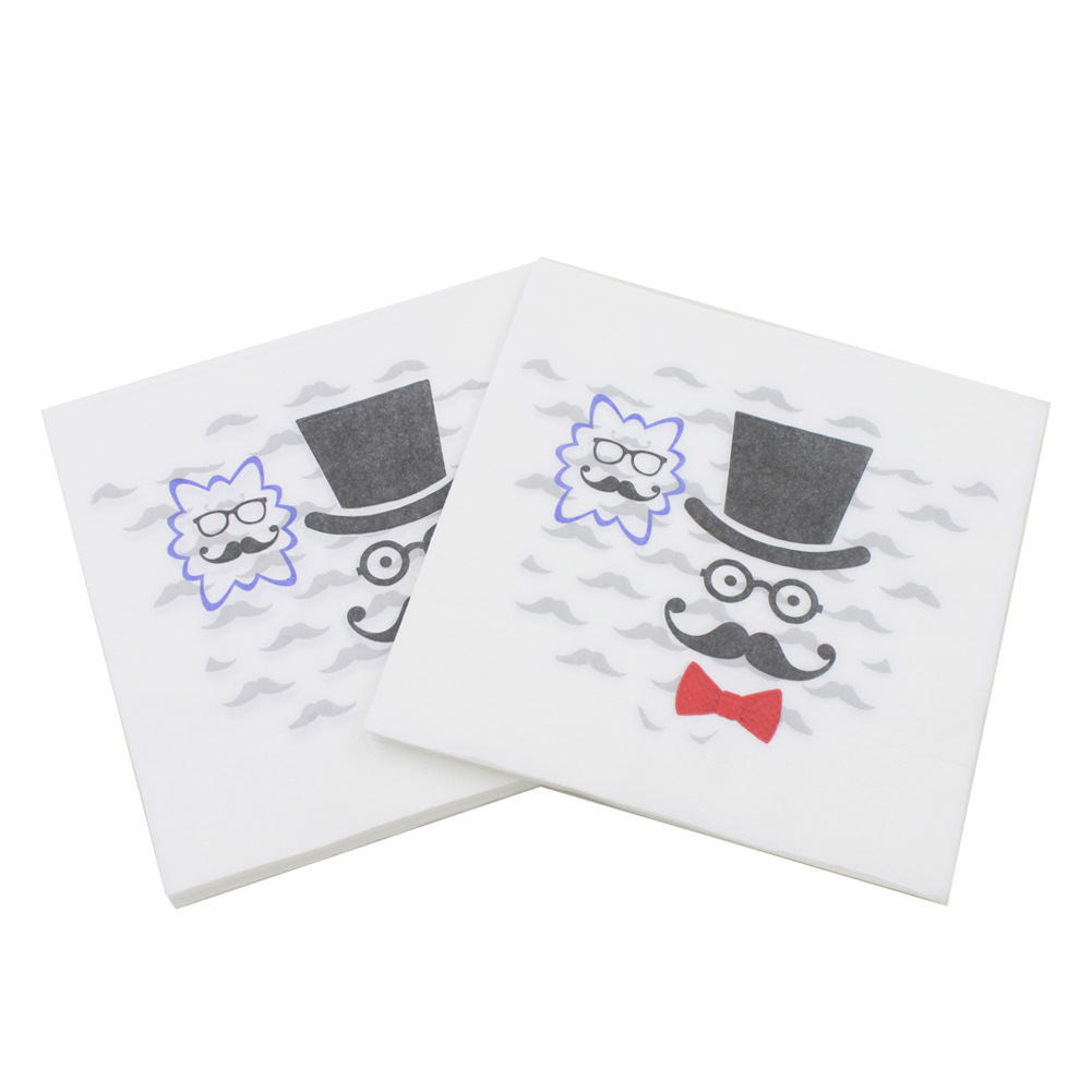 [Currently Available] Color Printed Napkin Bearded Small Ugly Kleenex Party Paper DIY Paper Cutting