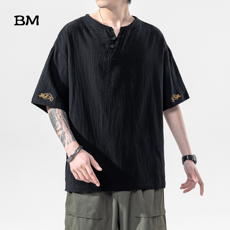 Summer Chinese Style Linen Short Sleeve Oversized Embroidery T-Shirt Men Hip Hop Fashions Tee Streetwear Harajuku T Shirt Male