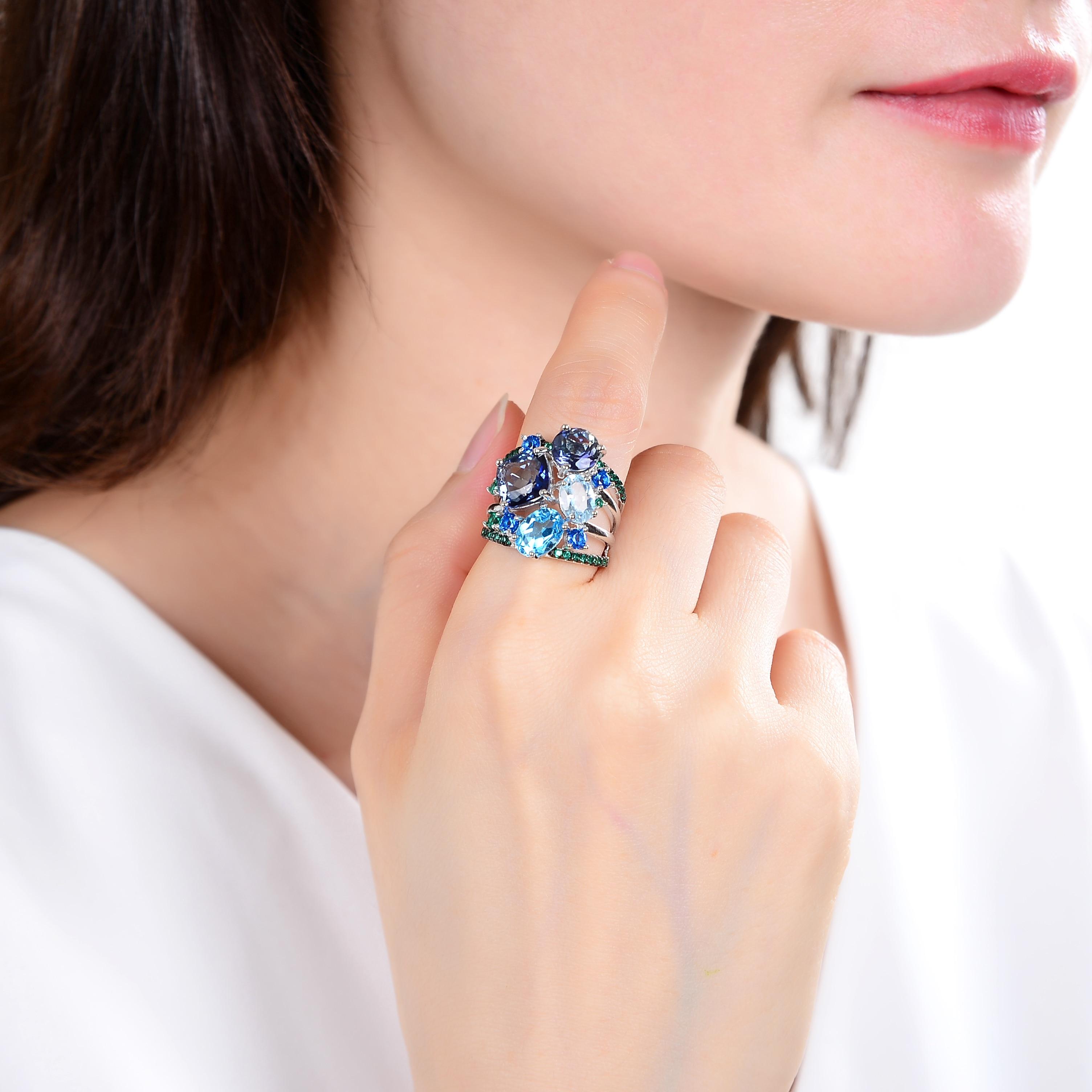 GEM'S BALLET Natural Mystic Quartz Topaz Gemstone Ring 925 Sterling Silver Geometric Statement Rings for Women Wedding Jewelry