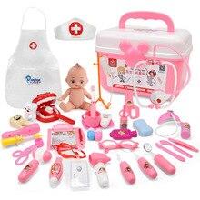 21 39 pçs crianças simulação jogo médico brinquedos conjunto cosplay doutores luz vocal estetoscópio simulação kit de ferramentas de equipamentos médicos