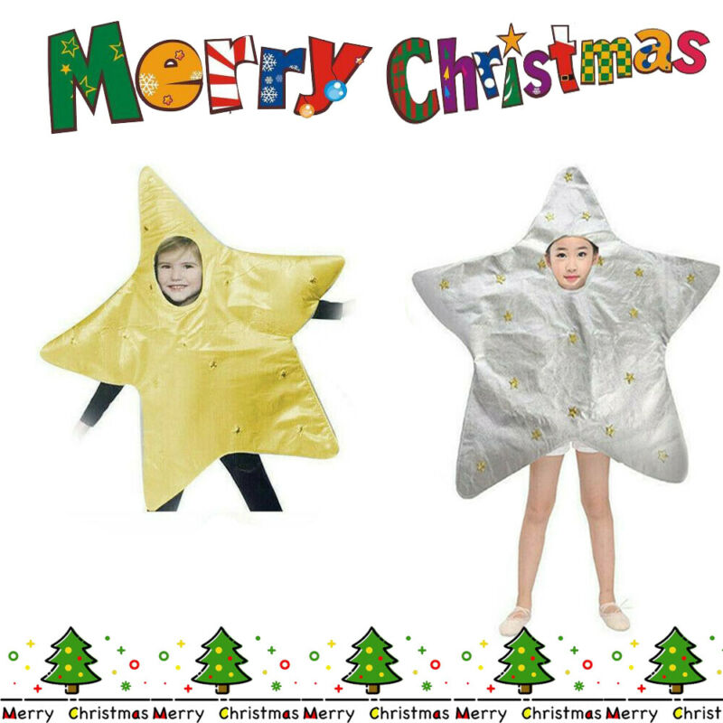 KIDS STAR NATIVITY GOLD SILVER SHINING CHRISTMAS FANCY DRESS COSTUME OUTFIT