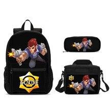 3Pcs/Set Portfolio School Bags For Boys Girls Cool Cartoon Brawl Stars Letter 3D Printing Backpacks Kids Bookbag Mochila Escolar