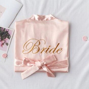 Embroidery Letter Bride Bridesmaid Wedding Robe Sexy Satin 1