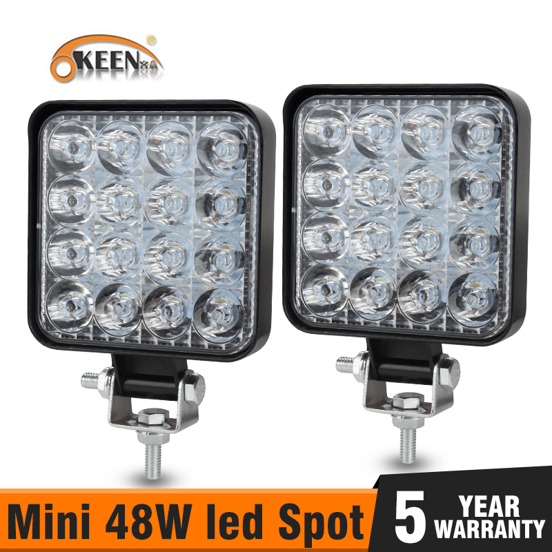 OKEEN Mini 16LED 27W 48W LED Work Light Bar Square Spotlight 12V 24V Offroad LED Light Bar For Truck Offroad 4X4 4WD Car SUV ATV 1
