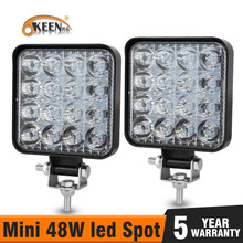 OKEEN-Mini barre lumineuse de travail, 48W LED, barre lumineuse carrée, faisceau 24V 12V, LED lumière LED hors route, pour camion, voiture 4x4 4WD, SUV ATV, IP67