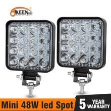OKEEN Mini LED 48W listwa świetlna LED robocza kwadratowa wiązka punktowa 24V 12V listwa oświetlenia LED do jazdy terenowej do ciężarówki 4X4 4WD samochód SUV ATV IP67