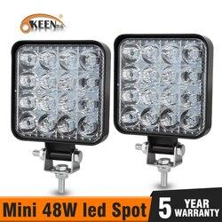 OKEEN Mini LED 48W LED Work Light Bar Square Spot beam 24V 12V Off road LED Light Bar For Truck 4X4 4WD Car SUV ATV IP67