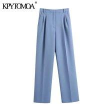 KPYTOMOA kadınlar için 2021 şık moda yan cepler Darted pantolon Vintage yüksek bel fermuar Fly kadın pantolon Mujer