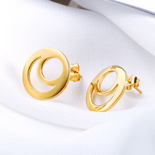 цена на Earrings Female Trend Stainless Steel Jewelry Women Accessories Hollow Sun and Moon Gold Silver Round Fashion Women Stud Earring