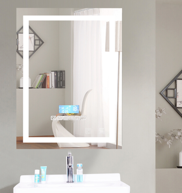 Dimmable LED Bathroom Mirror Wall-mounted Smart Mirror Explosion Proof Anti-fog Bathroom Makeup Mirror HWC 80*60CM HWC