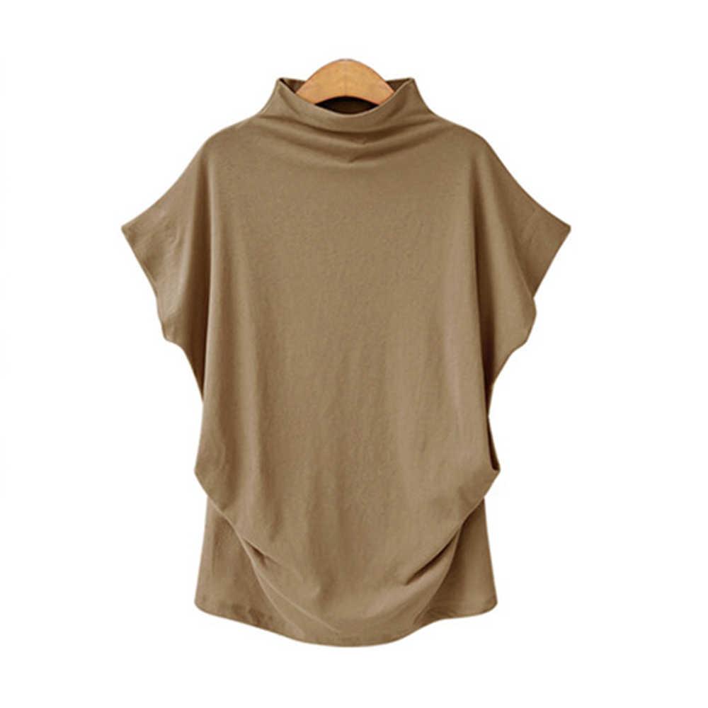 Jocoo Jolee kobiety na co dzień z golfem krótki rękaw w kształcie skrzydła nietoperza bluzka kobiet bawełna stałe bluzka w rozmiarze Plus Size koszulka żeńska 2020 odzież
