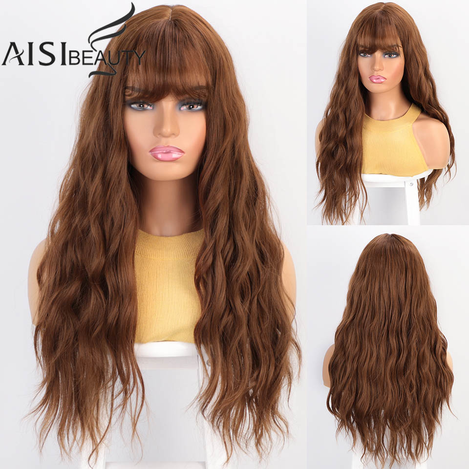 Aisibeauty Long Wavy Womens Wigs With Bangs Pink/Brown/Grey Mixed Black Heat Resistant Synthetic Wigs For Women African American