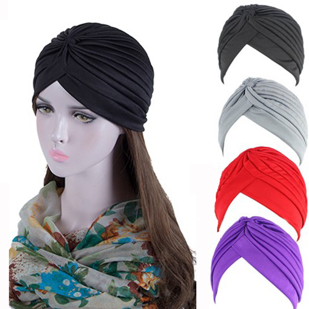 Stretchy Turban Muslim Hat Stretchy Bandanas Headband Wrap Chemo Hijab Knotted Indian Cap Adult Headwear For Women
