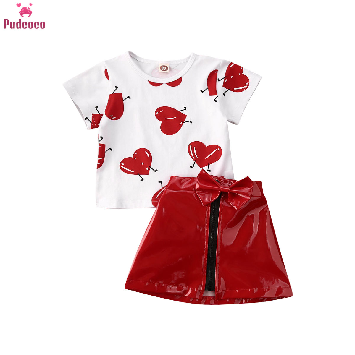 Valentine'S Days Kids Baby Girls Clothes Set Love Printed T-shirt Tops And Leather Zip Skirt Summer Outfits 0-5 Years