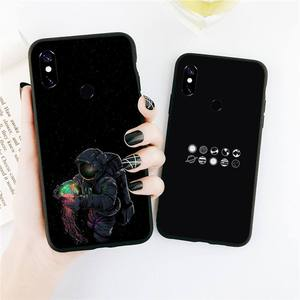 Black With White Moon Stars Space Astronaut Phone Case For Xiaomi Redmi note 4 4X 8T 9 9s 10 K20 K30 cc9 9t pro lite max