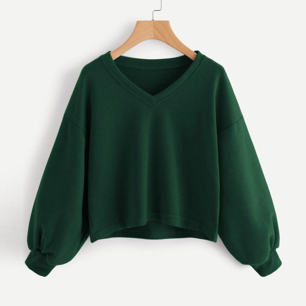 Women Solid hoodies Casual v neck Drop Shoulder Lantern Sleeve Sweatshirt Pullover Tops moletom cropped harajuku sudaderas mujer