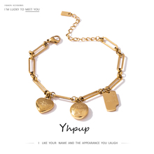 Yhpup Fashion Stainless Steel Jewelry Round Heart Geometric Metal Pendant Bracelet for Women Golden Texture Charm Bracelet 2020