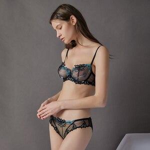 Image 3 - Lilymoda 2018 セクシーな超薄型透明ブラジャー h な女性下着桜刺繍花レースの誘惑ランジェリー barssiere