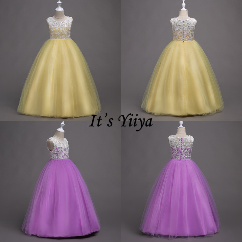 It's YiiYa   Flower     Girl     Dress   O-neck Sleeveless Long Kid Wedding Party Gowns Elegant Bow Lace Communion   Dresses   For   Girls   569