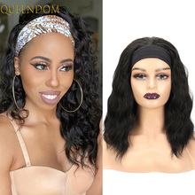 """Synthetic Body Wave Headband Wig Shoulder Length Scarf Wigs for Black Women 14"""" Water Wave Cosplay Wig with Turban Wavy Perruque"""