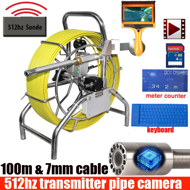 100M Sewer Drain Camera With 512hz Sonde Endoscope Inspection Camera 512hz Transmitter Sewer Cameras With Meter Counter