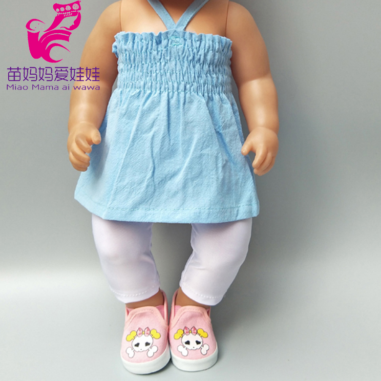 Fit For 43cm  Baby Doll Strap Dress Suit For 18 Inch 45CM Girls Dolls Clothes Children Chirstmas Gift