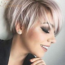 Свободный женский парик из коротких волос с естественной челкой, стрижка Пикси с яркими синтетическими белыми смешанными коричневыми стри...