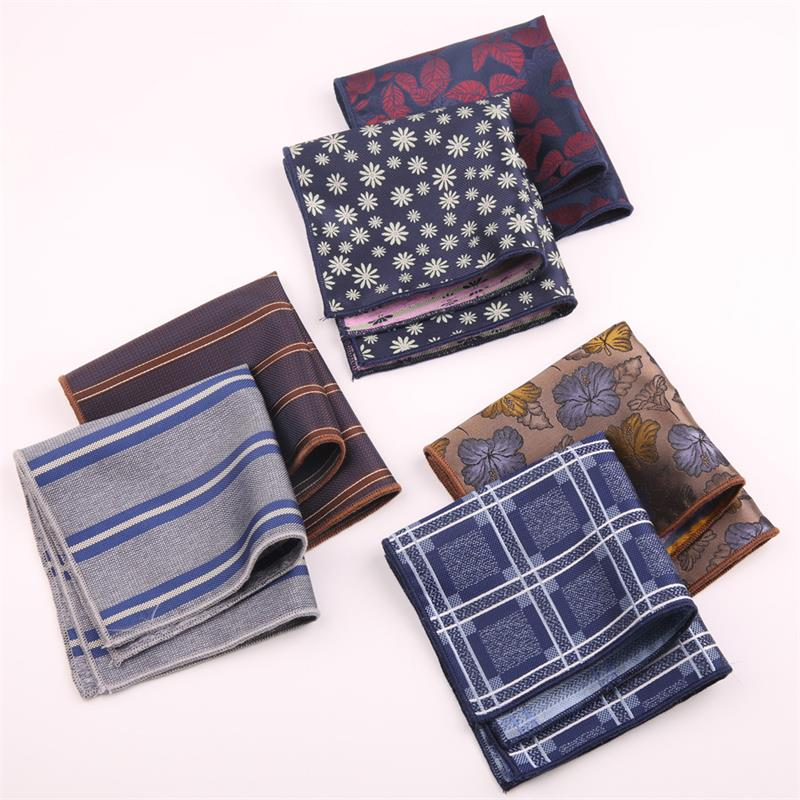 2019 Polka Dot/Striped/Floral Handkerchief Wedding Polyester Printed Men's Fashion Pocket Square Towel Business Suit Accessories