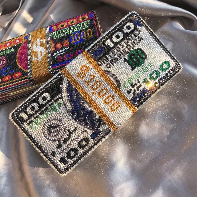 2020 Stack of Cash Hot-Fixed Crystals bag