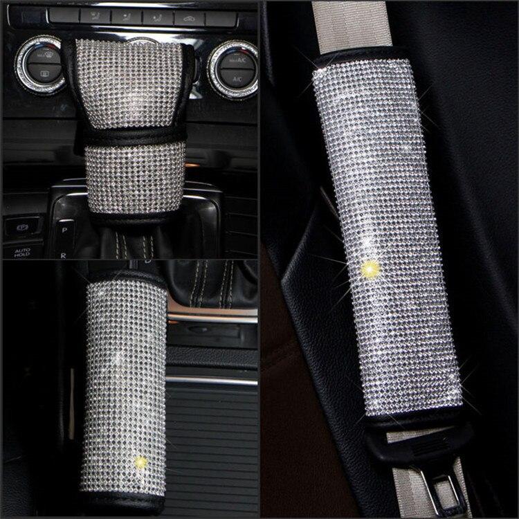 Car Gear Cover Diamond Set Handbrake Sleeve Shift Knob Car Accessories Full Of Crystals Car Mounted Safety Belt Shoulder Sleeve