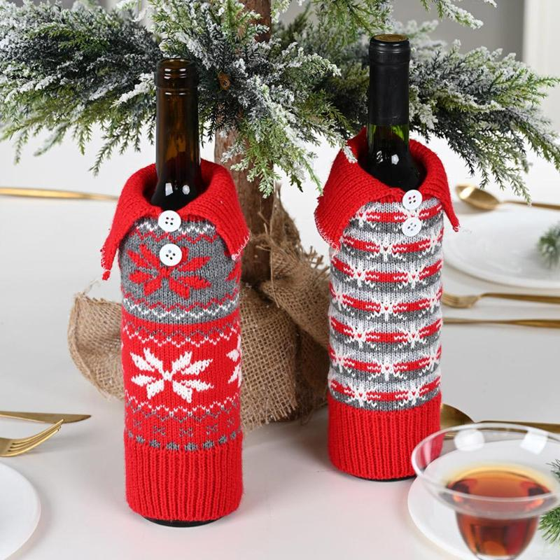 New Year Christmas Wine Bottle Dust Cover Santa Claus Gift Bags Xmas Noel Christmas Decorations For Home Dinner Table Decor